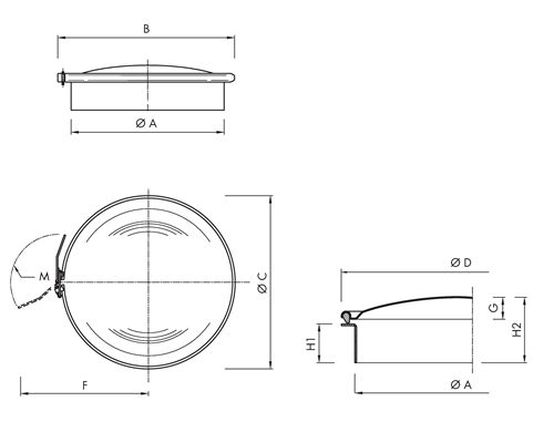 Standard hatch without hinge Code: B150SC