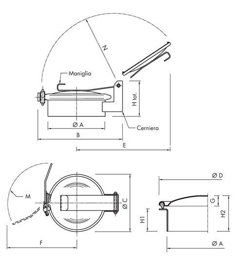Standard hatch with hinge Code: B150
