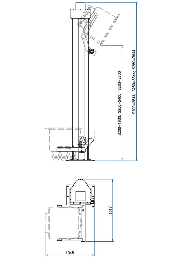 Bin Lifters Model: S-180