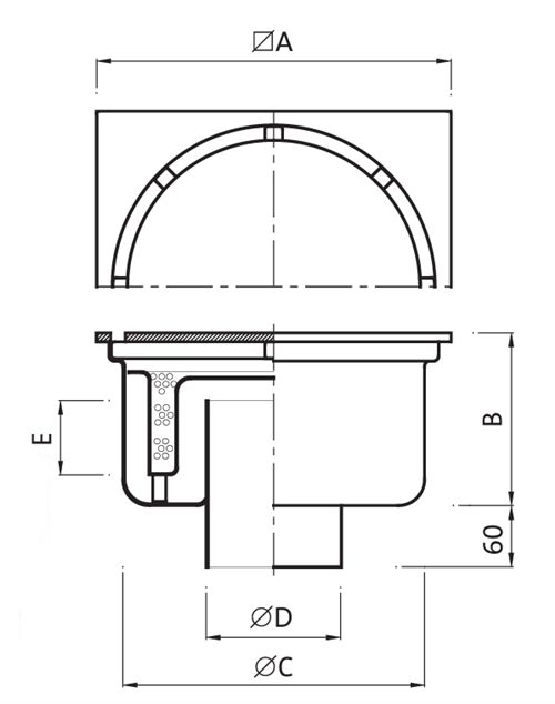 Gully (Reinforced) 400x400 outlet 154mm Code: P.010