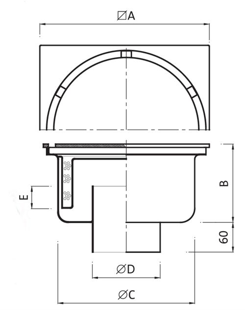 Gully (Reinforced) 500x500 outlet 219mm Code: P.019