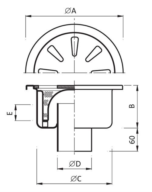 End of Line: Gully 285mm outlet 101,6 / 110mm Code: P.040 - 500000