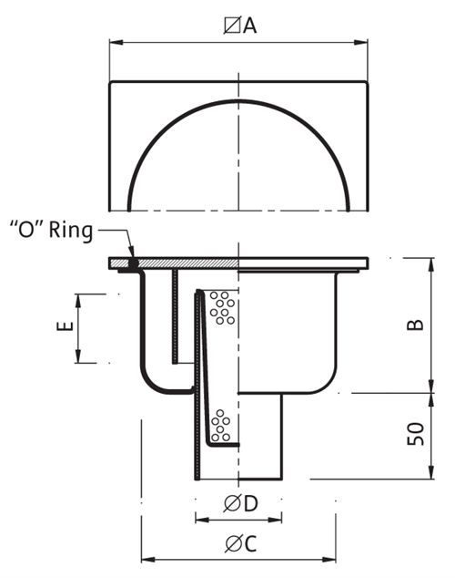 P.065 Gully 300x300 Outlet 101,6 / 110mm