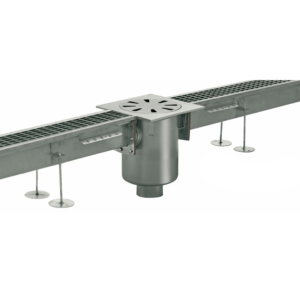 Channel system with grating covers vertical discharge Code: PC.002GV