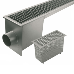 Channels with grating covers, horizontal discharge Code: PC.024