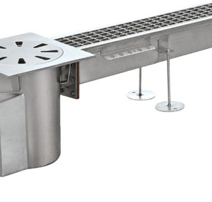 Channel system with grating covers horizontal discharge Code: PC.002GL